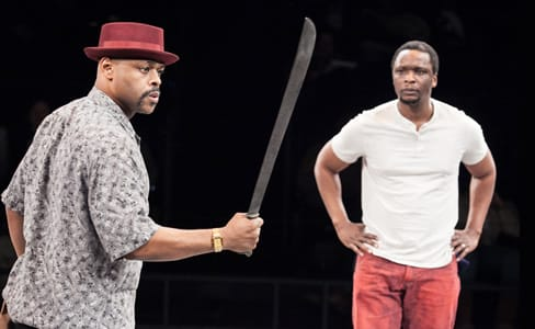 (l-r) KenYatta Rogers as Mister and Bowman Wright as King in King Hedley II at Arena Stage
