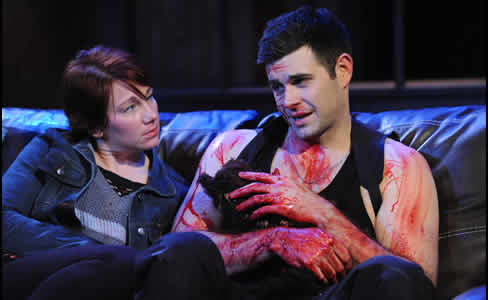 Megan Dominy and Thomas Keegan in The Lieutenant of Inishmore (Photo: Stan Barouh)