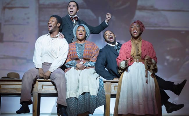 (l-r) Kevin McAllister, Jobari Parker-Namdar, Nova Y. Payton, Rayshun LaMarr Purefoy and Ashley D. Buster in the Ford's Theatre production of Freedom's Song: Abraham Lincoln and the Civil War (Photo:  Scott Suchman)