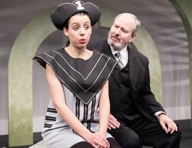 Zoo, (a longlived), played by Stephanie Schmalzle, is confused by the Elderly Gentleman (a shortlived) played by Vincent Clark in THE TRAGEDY OF AN ELDERLY GENTLEMAN. (Photo: C Stanley Photography)