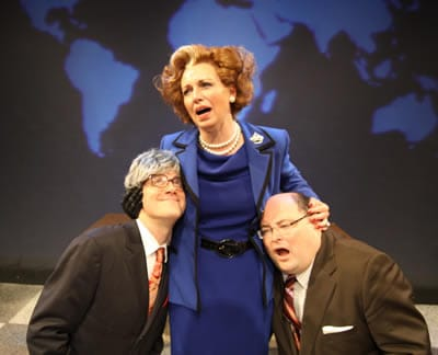 Nanna Ingvarsson as Maggie Thatcher (center) with John Geoffrion and Michael Miyazaki in Sink the Belgrano! (Photo: Ian C. Armstrong)