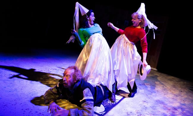 (l-r) Ron Litman is floored as Nora Achrati and Nanna Ingvarsson do their Norwegian dance in The Norwegians . Photo by Jae Yi Photography.