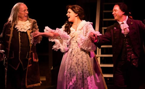 (l-r) John Stevenson as Ben Franklin, MaryKate Brouillet as Martha Jefferson,  and Jeffrey Shankle as John Adams. (Photo: Jeri Tidwell)
