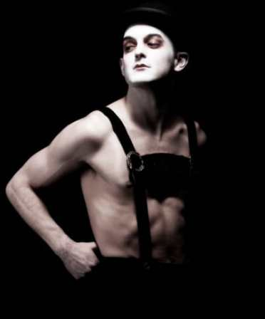 Wesley Taylor as the Emcee in Cabaret at Signature Theatre (Photo: Christopher Mueller