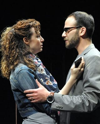 Tessa Klein and  Jonathan Feuer in Tanya Barfield's The Call at Theater J (Photo: Stan Barouh)