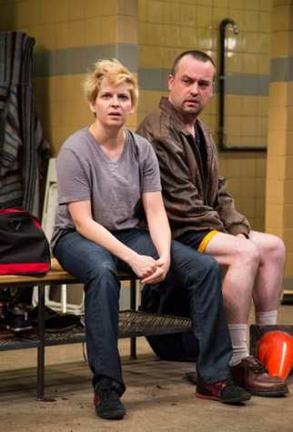Kimberly Gilbert (Viv) and Michael Glenn (Joe) in Jumpers for Goalposts at Studio Theatre. (Photo: Igor Dmitry)