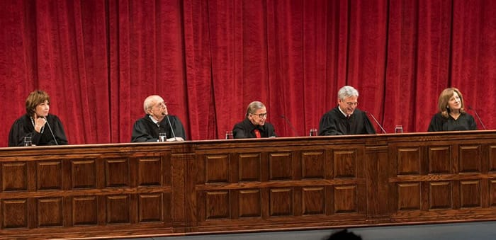 The honorable court: (l-r) Judge Patricia A. Millett, Justice Stephen Breyer, Justi ce Ruth Bader Ginsburg, Judge Merrick Garland,  and Judge Amy Berman Jackson at the Shakespeare Theatre C ompany's 2015 Mock Trial. (Photo: Kevin Allen)