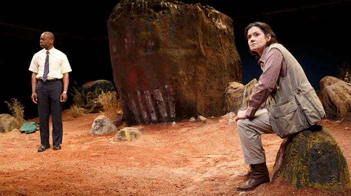 Sahr Jgaujah as Jonathan and Bianca Amato at Elmarie in The Painted Rocks at Revolver Creek (Photo: Joan Marcus)