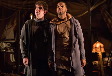(l-r) Adam Wesley Brown as Guildenstern, and Romell Witherspoon as Rosencrantz in Rosencrantz and Guildenstern Are Dead at Folger Theatre (Photo by Teresa Wood)