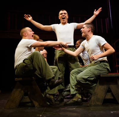 (l-r) Harrison Smith, David Landstrom, and Tiziano D'Affuso in Dogfight, Keegan Theatre (Photo: Traci J. Brooks Studio)