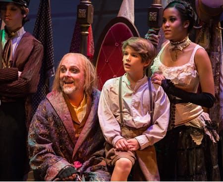 Rick Hammerly as Favin with the cast of Oliver! The Musical (Photo: Mike Horan)