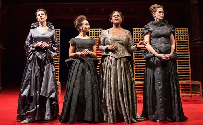 (l-r) Monique Barbee, Christina Spina, Ayeje Feamster, and Juliana Francis Kelly in texts&beheadings/ElizabethR at Folger Theatre (Photo: Teresa Wood)