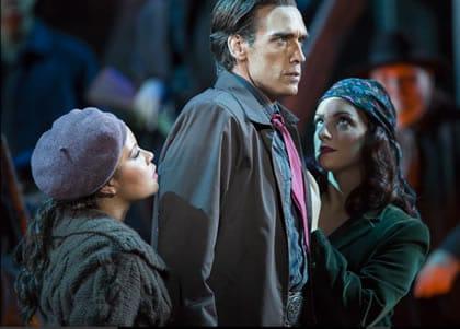 Ariana Wehr as Frasquita, Michael Todd Simpson as Escamillo, and Aleksandra Romano as Mercédès in Carmen at Washington National Opera (Photo: Scott Suchman)