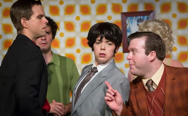 Baughman, Lee, Rossman, Scholtes in One Man, Two Guvnors at Maryland Ensemble Theatre (Photo: Joe Williams)