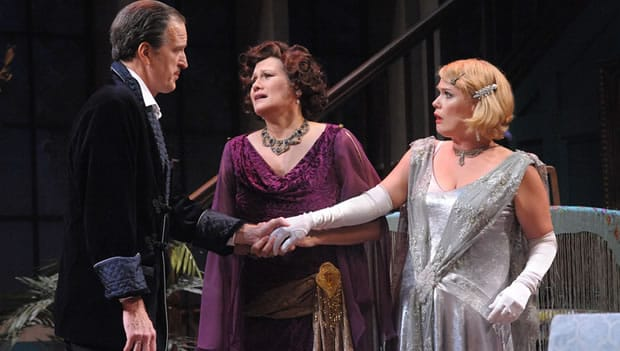 David Bliss (Matt Sullivan), Judith Bliss (Valerie Leonard), and Myra Arundel (Beth Hylton) in Olney Theatre Center's production of the comedy HAY FEVER. (Photo: Stan Barouh)