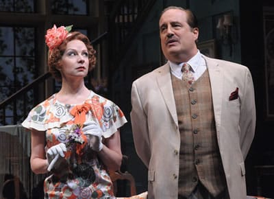 Jackie (Susan Lynskey) and Richard (Michael Russotto) in Olney Theatre Center's production of the comedy HAY FEVER. (Photo: Stan Barouh)