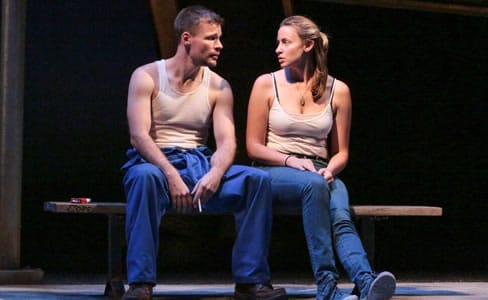 Josiah Bania and Alexandra Henrikson in Round House Theatre's production of Ironbound (Photo: Cheyenne Michaels)
