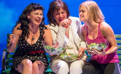(l-r) Kimberly Gilbert, Janet Ulrich Brooks, Meghan Reardon, Women Laughing Alone with Salad, Woolly Mammoth Theatre Company (Photo: Scott Suchman)