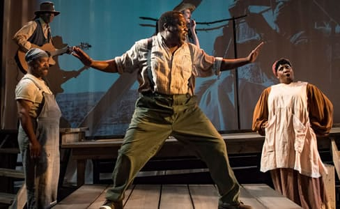 David Cole as Tuneman, Doug Brown as Charlie,, Enoch King (center) as Bo-Jack, Peter Boyer as Whistle and Roz White as Lottie in Uprising at MetroStage (Photo: Chris Banks)