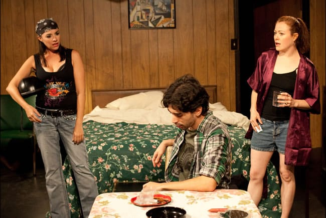 (l-r) Kimberlee Wolfson as Agnes, Matthew Marcus as Peter and Jennifer Osborn as RC in Bug (Photo courtesy of SeeNoSun Onstage)
