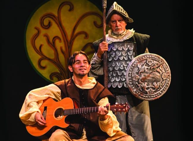 (l-r) Omar Alexander as Sancho Panza and Roberto Colmenares as Don Quixote (Photo: Stan Weinstein)