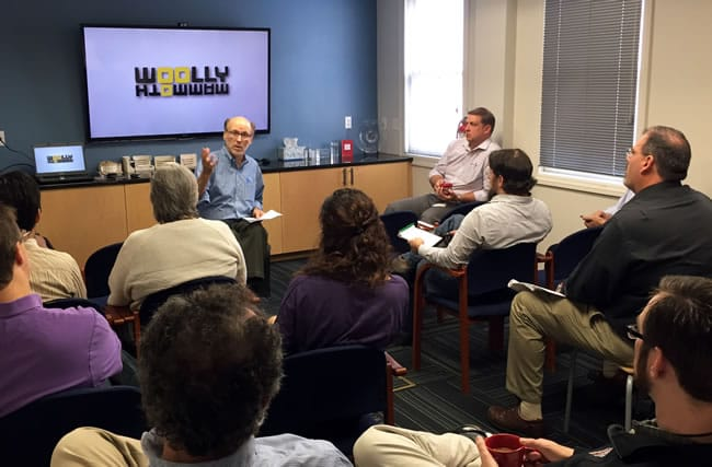Howard Shalwitz meets with Theatre Projects designers (Photo courtesy of Theatre Projects)