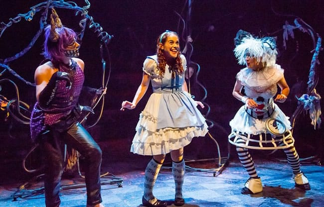 Alex Mills as Cheshire Cat, Kathy Gordon as Alice, Tori Bertocci as White Rabbit in Alice in Wonderland by Synetic Theater (Photo: Johnny Shryock)