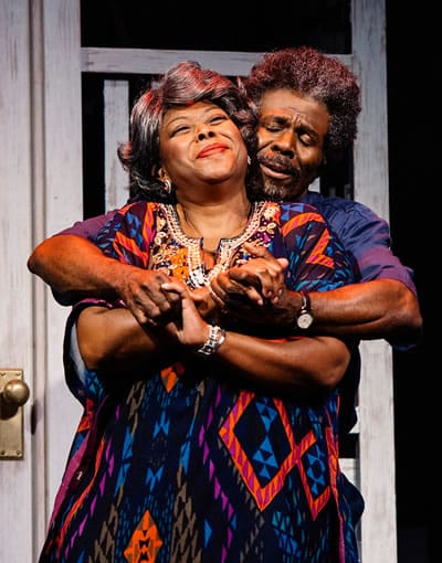 Greta Oglesby as Batty Ruth and Milton Craig Nealy as Drunk Willie in Akeelah and the Bee at Arena Stage at the Mead Center for American Theater (Photo: Cameron Whitman))