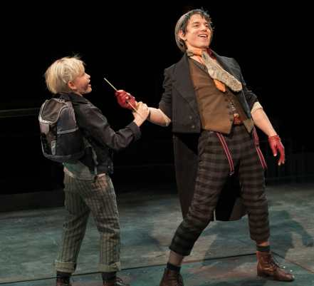 (l-r) Jake Heston Miller as Oliver and Kyle Coffman as Artful Dodger in Oliver! at Arena Stage at the Mead Center for American Theater 10/30/15 – 1/3/16. (Photo: Margot Schulman)