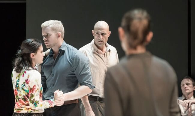 (l-r) Phoebe Fox, Russell Tovey, MArk Strong, Nicola Walker and Michael Gould in Arthur Miller's A View from the Bridge (Photo: Jan Versweyveld)