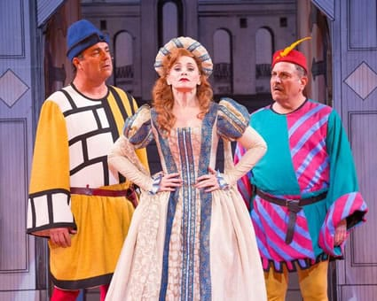 Raymond Jaramillo McLeod as Second Man, Christine Sherrill as Katherine, and Bob Ari as First Man in Kiss Me, Kate at the Shakespeare Theatre Company. (Photo: Scott Suchman)
