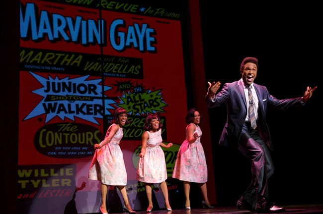 Jarran Muse as Marvin Gaye and the cast of Motown The Musical, First National Tour at The National Theatre (Photo: Joan Marcus, 2014)