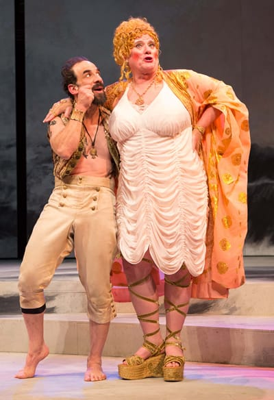 U. Jonathan Toppo as Boult and Michael J. Hume as Bawd in Pericles by Oregon Shakespeare Festival at Folger Theatre (Photo: Teresa Wood)