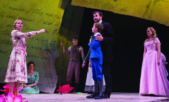 (l-r) Caitlin Cohn, Richard Anderson, Jessica Van Kipp, Cameron Bartell, Anthony Frederickson, Kevin Earley and Brandi Burkhardt in Secret Garden at Center Stage (Photo: Richard Anderson)
