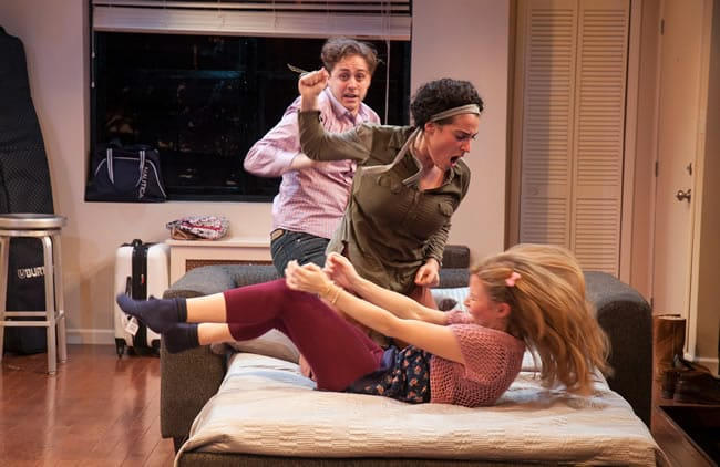 (l-r) Noah Averbach-Katz, Laura Lapidus, and Maggie Wilder in Bad Jews at Studio Theatre. (Photo: Allie Dearie)