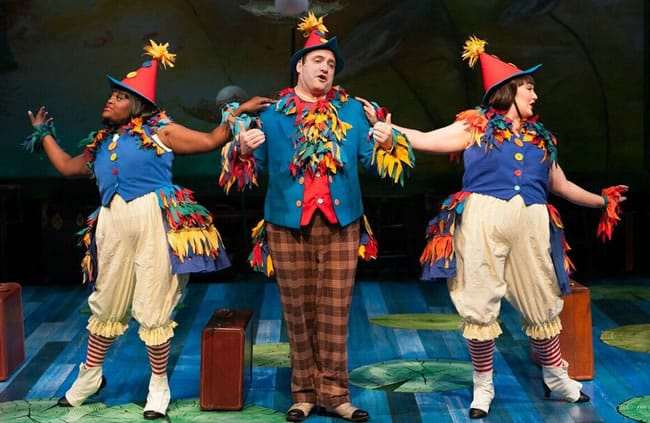 (l-r) Tracy Lynn Olivera, Matt Dewberry and Nova Y. Payton, as the Birds in A Year wwith Frog and Toad at Imagination Stage (Photo: Margot Schulman)