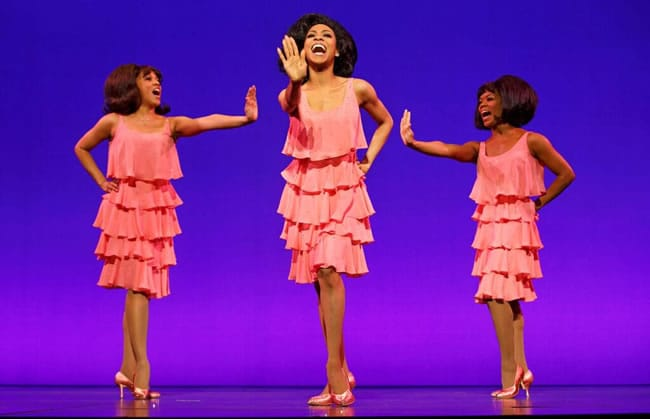(l-r) Krisha Marcano (Florence Ballard), Allison Semme s (Diana Ross) & Trisha Jeffrey (Mary Wilson) in Motown the Musical First National Tour (Photo: Joan Marcus)
