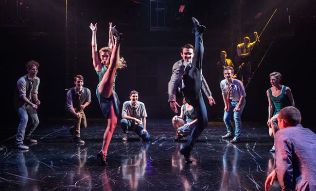 J. Morgan White (Snowboy), Joseph Tudor (Baby John), Jennifer Cordiner (Graziella), Maria Rizzo (Anybodys), Max Clayton (Riff), Ryan Kanfer (A-Rab), and Shawna Walker (Pauline) in West Side Story at Signature Theatre. (Photo: Christopher Mueller)
