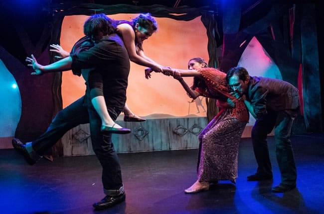 (l-r) Robert Pike (Demetrius), Jenna Berk (Hermia), Rachel Viele (Helena), Danny Cackley (Lysander)