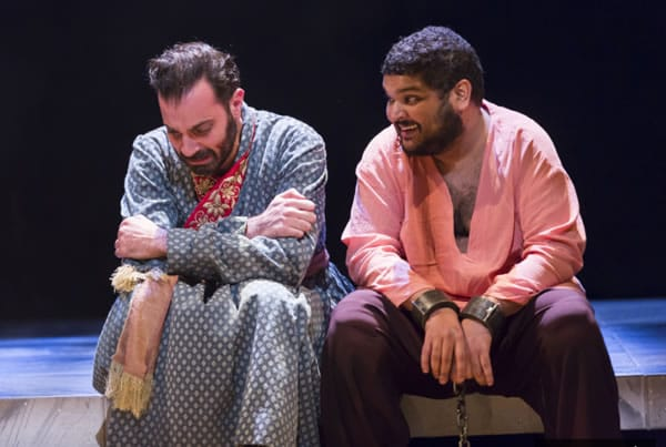 (l-r) Ethan Hova and Kenneth De Abrew in Guards at the Taj at Woolly Mammoth Theatre (Photo: Scott Suchman)