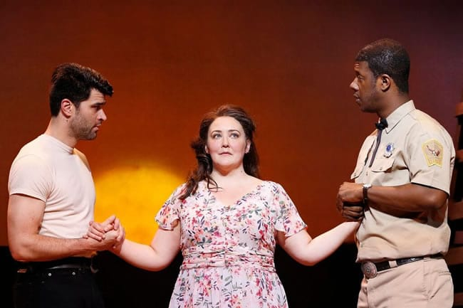 Ben Crawford as Starbuck, Tracy Lynn Olivera as Lizzie Curry and Kevin McAllister as File in the Ford's Theatre production of 110 in the Shade, directed and choreographed by Marcia Milgrom Dodge. (Photo: Carol Rosegg)