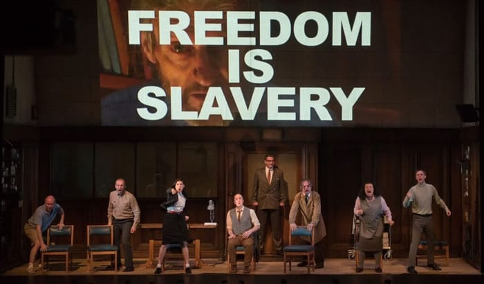 The cast of 1984, now at Shakespeare Theatre (Photo: Ben Gibb, courtesy Headlong)