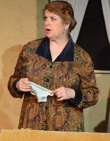 Jill Kyle-Keith as Mrs. Van Daan in The Diary of Anne Frank at Compass Rose Theater (rehearsal photo)