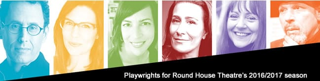 (l-r) Tony Kushner, Lauren Gunderson, Margot Melcon, Jeanine Tesori, Liz Duffy Adams and August Wilson