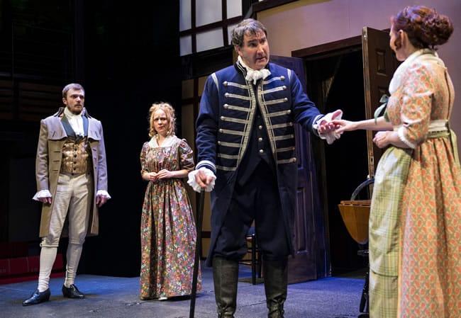 Michael P. Sullivan, Lesley Malin, (Jack Novak) and Lizzi Albert in Wild Oats at Chesapeake Shakespeare Company (Photo: Teresa Castracane)