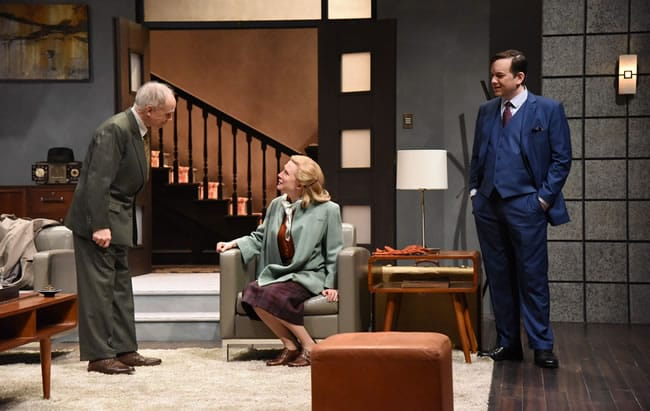 Nisi Sturgis as Margot Wendice, Cameron McNary as Max Halliday and Alan Wade as Inspector Hubbard in Dial 'M' for Murder at Olney Theatre Center (photo: Stan Barouh)