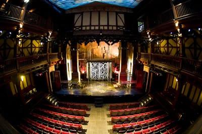 The Elizabethan Theatre evokes the courtyard of an English Renaissance inn. Overhead, a canopy represents the sky.