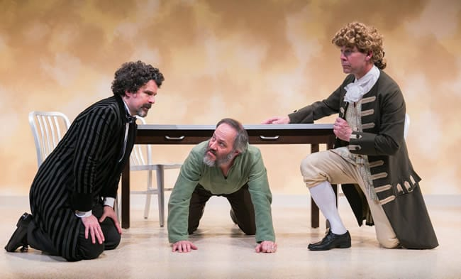 (l-r) Brit Herring as Thomas Jefferson, Peter Boyer as Charles Dickens and Steven Carpenter as Count Leo Tolstoy in The Gospel according to Thomas Jefferson, Charles Disckens and Count Leo Tolstory: Discord at Washington Stage Guild (Photo: C. Stanley Photography)