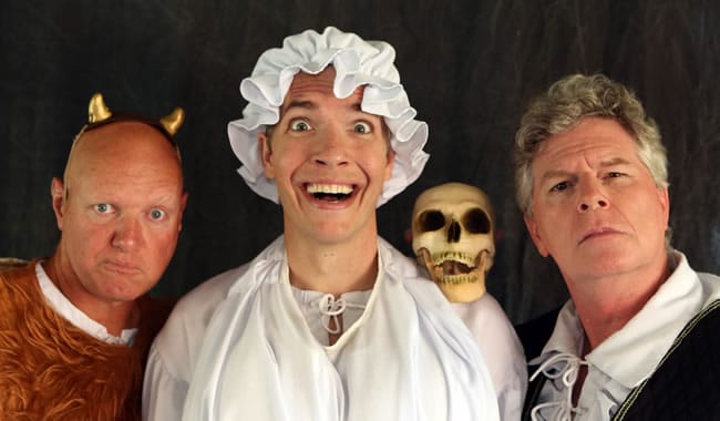 Teddy Spencer (center) with (l-r) Austin Tichenor and Reed Martin from Reduced Shakepeare Company's Long Lost First Play (Abridged)