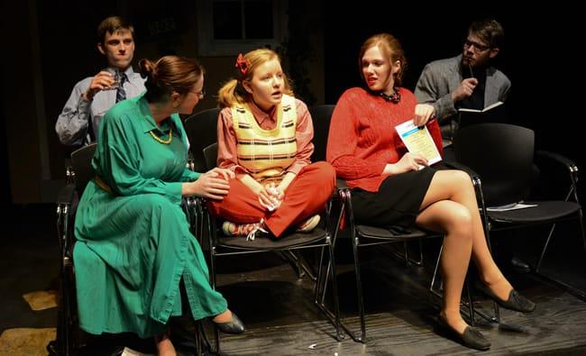 Front Row: Sylvie Weissman, Heather DeMocker, Cindy Gilbert. Back Row: James Sleigh, Thomas Schoppert in Middletown, Lumina Studio. (Photo: Linda parker)